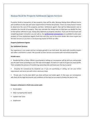 Human Need for Property Settlement Agents Services