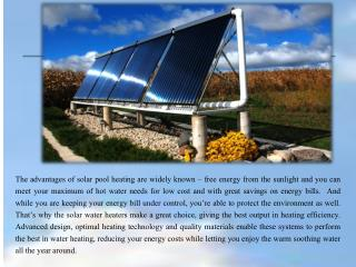 Solar Pool Heating