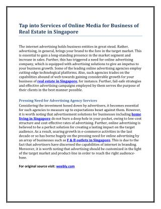 Tap into Services of Online Media for Business of Real Estate in Singapore