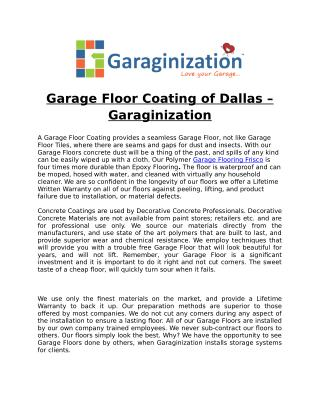 Garage Floor Coating of Dallas – Garaginization