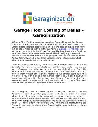 Garage Floor Coating of Dallas � Garaginization
