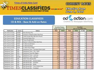 Advertisement Rate Card for Times Of India Classified and Display by Adeaction Media 2015-16.