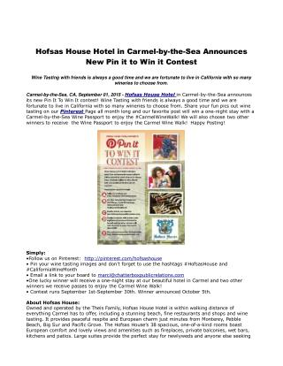 Hofsas House Hotel in Carmel-by-the-Sea Announces New Pin it to Win it Contest