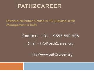 Distance Education Course In PG Diploma In HR Management In Delhi