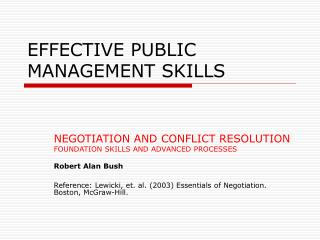 EFFECTIVE PUBLIC MANAGEMENT SKILLS