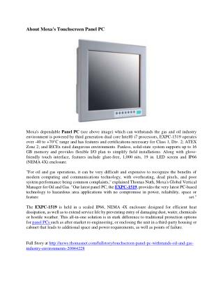 Moxa's Touchscreen Panel PC