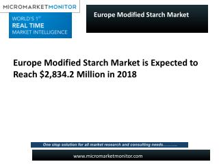 Europe Modified Starch Market is expected to reach $2,834.2 Million in 2018