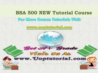 BSA 500 NEW Tutorial Course/Uoptutorial