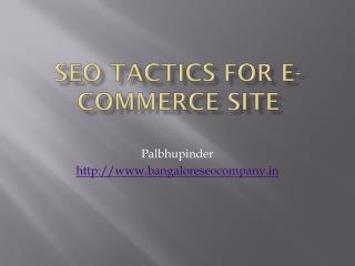 SEO Tactics For E-Commerce Site