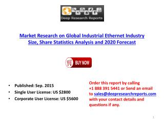Global Industrial Ethernet Industry Size Statistics Analysis and 2020 Forecast