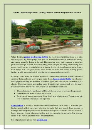 Garden Landscaping Dublin – Gaining Demand and Creating Aesthetic Gardens