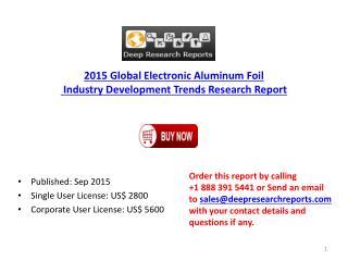Global Electronic Aluminum Foil Market Developments Research 2015