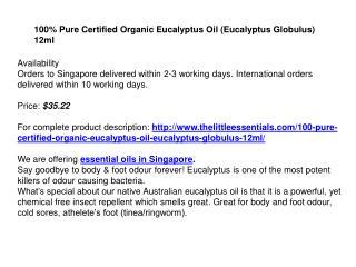100% Pure Certified Organic Eucalyptus Oil (Eucalyptus Globulus) 12ml