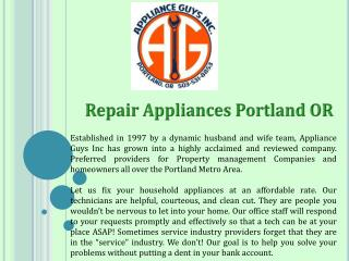 Repair Appliances Portland OR