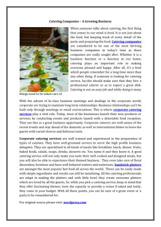Catering Companies – A Growing Business