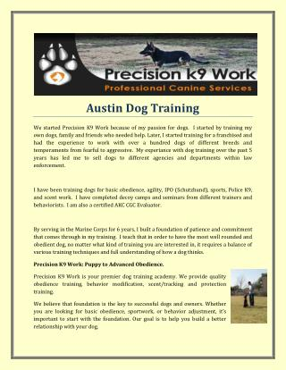 Austin Dog Training