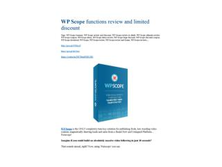 WP Scope review & bonus - I was Shocked!