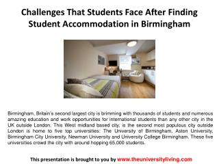 Challenges That Students Face After Finding Student Accommodation in Birmingham
