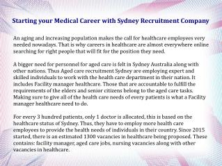 Starting your Medical Career with Sydney Recruitment Company
