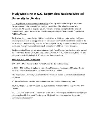Study MBBS at Bogomolets National Medical University in Ukraine