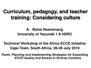 Curriculum, pedagogy, and teacher training: Considering culture