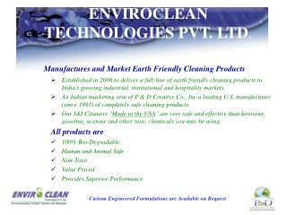 Enviroclean Technologies best cleaning products