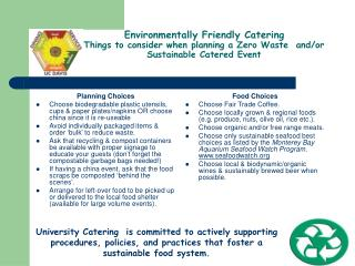 Environmentally Friendly Catering Things to consider when planning a Zero Waste  and
