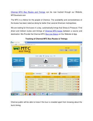 Chennai MTC Bus Routes and Timings - Bus Live Status @ MTCbustrack.com