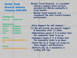 Market Trend Research Advisary Company Delhi NCR