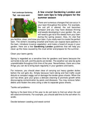 A few crucial Gardening London and lawn care tips to help prepare for the summer season