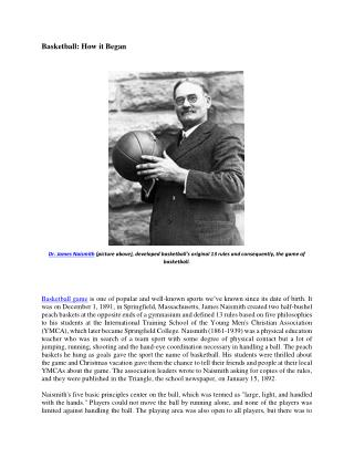 Hoop24Seven: Basketball How it Began