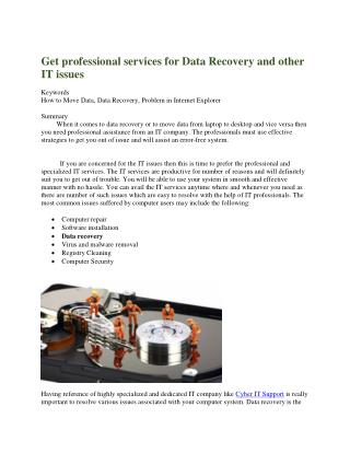 Get professional services for Data Recovery and other IT issues