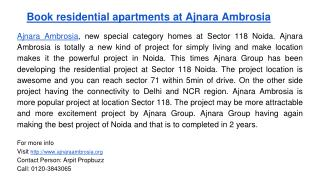 Book residential apartments at Ajnara Ambrosia