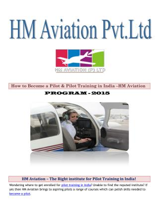 HM Aviation – The Right institute for Pilot Training in India