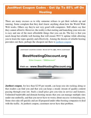 JustHost Coupon Codes - Get Up to 85% Off on Justhost Hosting