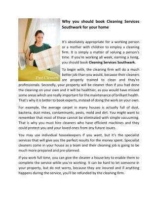 Why you should book Cleaning Services Southwark for your home