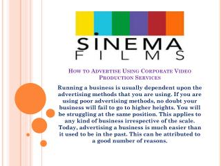 How to Advertise Using Corporate Video Production Services