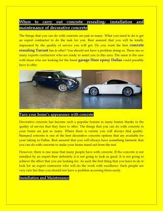 Garage Floor Epoxy Dallas