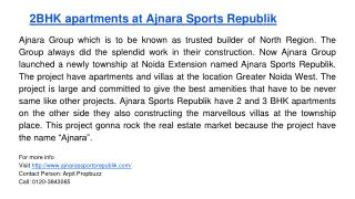 2BHK apartments at Ajnara Sports Republik