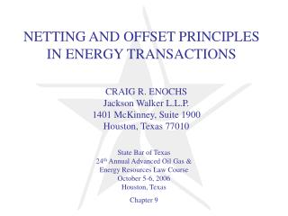 NETTING AND OFFSET PRINCIPLES IN ENERGY TRANSACTIONS