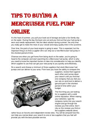 Tips to Buying a Mercruiser Fuel Pump Online