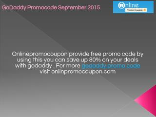 GoDaddy Promocode September 2015