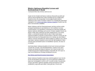 Bin�re Optionen Handeln Lernen - Ideal F�r Anf�nger