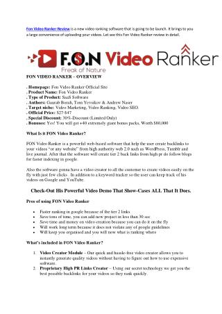 FON Video Ranker