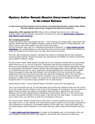 Mystery Author Reveals Massive Government Conspiracy in his Latest Release