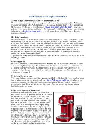 Het kopen van een Espressomachine