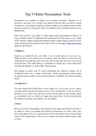 Top 5 Online Presentation Tools