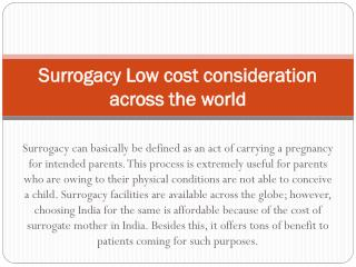 Surrogacy Low cost consideration across the world