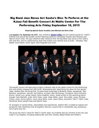Big Band Jazz Revue Act Sasha's Bloc to Perform at the KJazz Fall