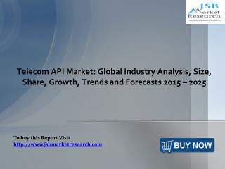 Telecom API Market: Global Industry Analysis: JSBMarketResearch